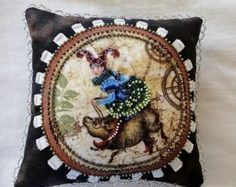Steampunk Girl on a Pig Beaded Art Pillow