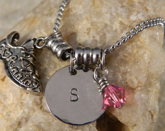 I love Running Initial Necklace with Crystal