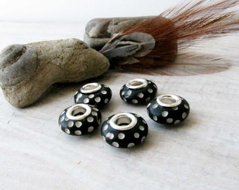 Black Beads, Carved Bone Beads, Bone Beads Silver Grommets, Handcrafted Bone Beads, Macrame Beads  European Charm 5 beads BB 1