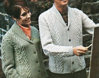 Free Knitting Patterns For Mens Cardigans : PDF Mens Sweater Pattern / Patchwork Sweater / Bulky Knit Sweater / Vint...