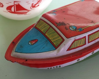 Ohio Art ~ Tin ~ Colorful ~ Litho ~ Toy Speedboat ~ Display Piece