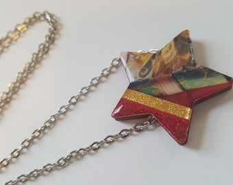 Christmas Card Star Flat Paper Bead Necklace