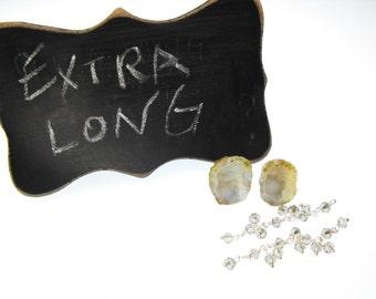 MICRO MINI GEODE 00561-627f smoky quartz ss chain kit buff precious gemstone earring set tiny little baby Tabasco drusy pre drilled pair