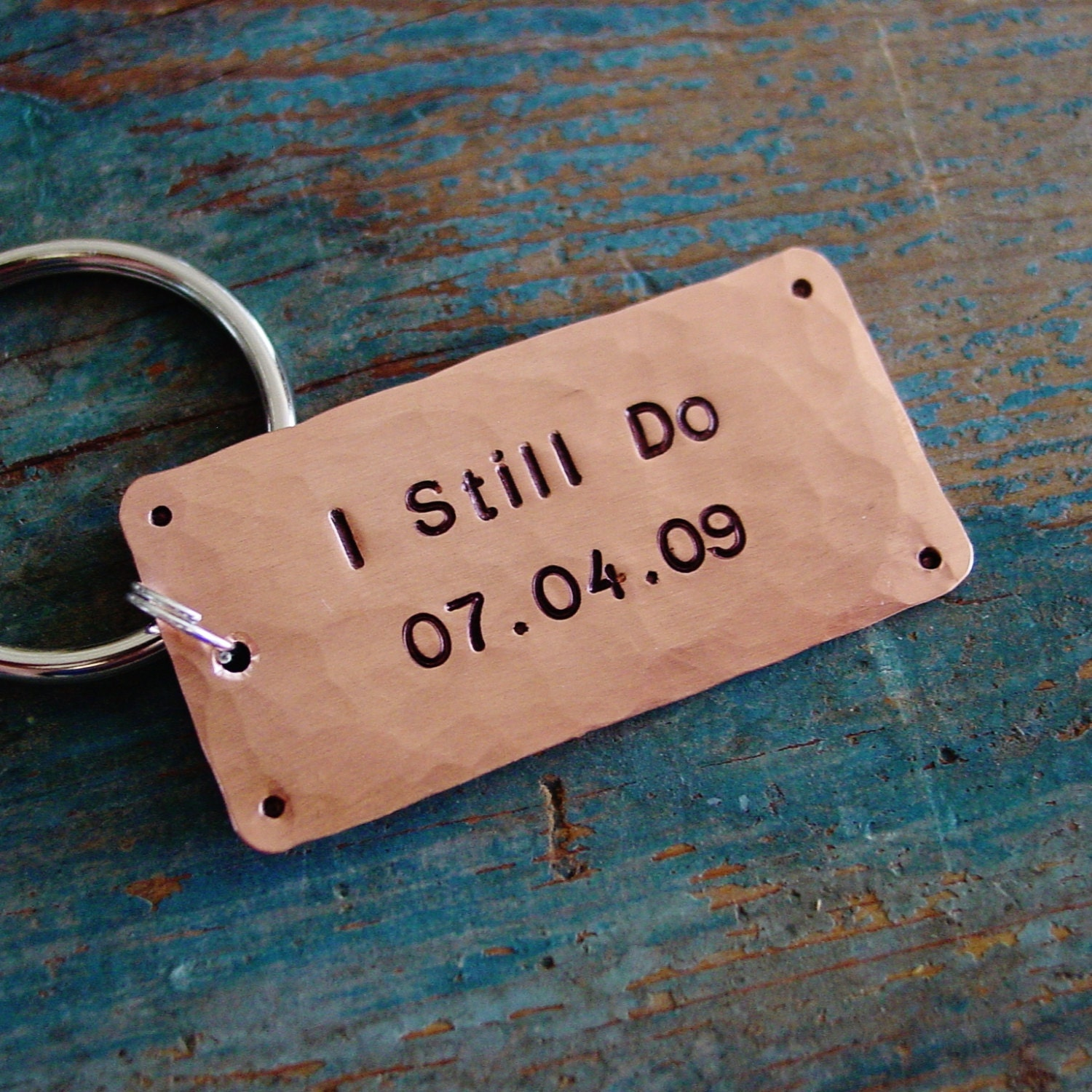 Wedding Gift 7 Year Anniversary : Anniversary Keychain I Still Do Wedding Date Copper by PearlieGirl