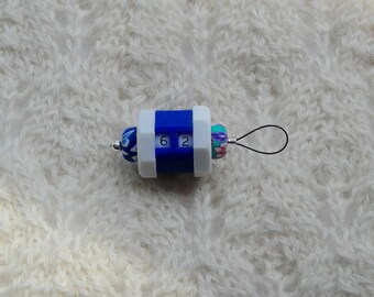 Row Counter Knitting Stitch Marker - snag free - large size - royal blue  - large loop fits needles up to size US 13 (9mm)