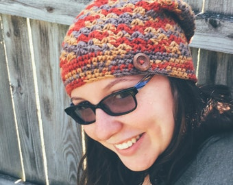 Slouchy hat rust, taupe, and gold fall accessories ladies beanie handmade wooden button accent