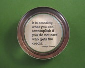 Harry S. Truman Inspirational Accomplishment Quote Round Glass Paperweight Papyrus and Copper