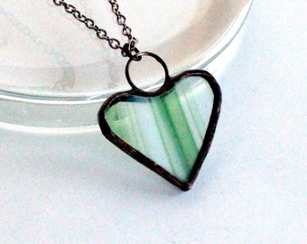 Green Baroque Heart Necklace- Stained Glass Jewelry Necklace