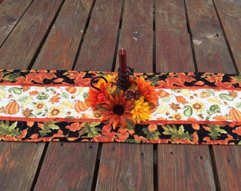 Fall Table Runner, Fall Quilted Table Runner, Autumn Table Runner, Maple Oak Leaf Table Runner, Sunflowers Pumpkins Table Runner