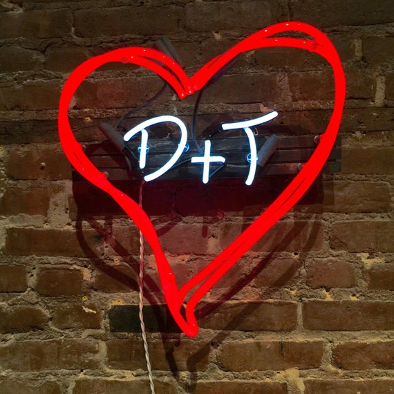 Hearts and Initials - Custom Neon Sign