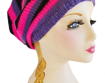 Knitted Baggy Slouchy Beanie  Heads Black Hot Pink Purple