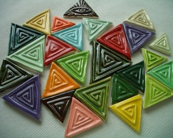 25VW - 25 pc STAMPED TRIANGLES -  Ceramic Mosaic Tiles Set