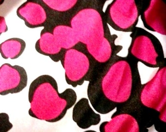 By the Yard Satin deep pink black white  Abstract lingerie slinky fabric dress blouses sewing
