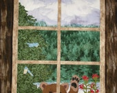 Hello !   Bear Cub in the Window Quilt / Wall Hanging, bear, cabin, decor, camp,woods,