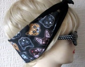 Cat Hair Tie Sugar Skull Style & Star Print Rockabilly by Dolly Cool. Rare and exclusive self designed fabric