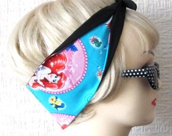 Ariel Little Mermaid Bubbles Hair Tie Fabric Head Scarf by Dolly Cool Comic Book Strip Boom Pow Zap Superhero