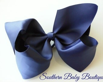 New---School Cheer Bow XX-Large 7 Inch Hair Bow---NAVY---Ready to Ship