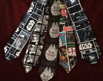 Star Wars men's neck tie, gifts for him men, millenium falcon, r2d2, Luke, vader, comic book gifts for geeks nerd gifts