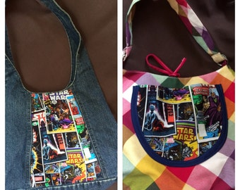 Star Wars comic book cover purse, geek shoulder bag, nerd girl gift shoulder bag upcycled vintage denim plaid pocket book
