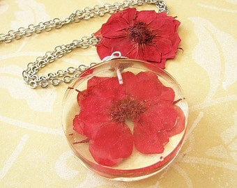 Real Flower Jewelry Pendant Necklace Pressed Flower Necklace Resin Jewelry Resin Necklace Red Rose Jewelry Gift For Woman