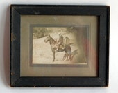 Vintage Antique 19th Century Framed Photo of Horse and Rider - Mid- to Late-1800s Photograph - Log Cabin in Background - Sepia Photo