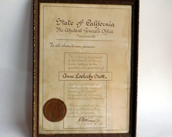 Vintage Framed Document from 1916, Done Entirely in Hand-Written Calligraphy - California National Guard Certificate of Appreciation