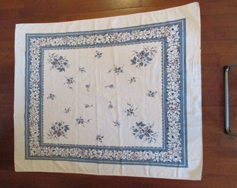 Vintage Tablecloth Blue White with touches of red not perfect