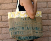 COFFEE Bean Burlap Bag Tote with yellow cherry blossoms fabric trim and lining