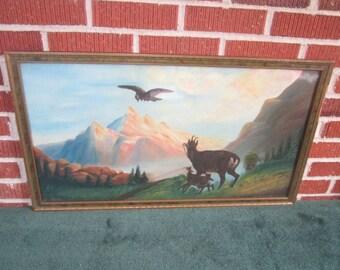 Vintage 1920s Large Primitive Folk Art Mountain Goats Landscape Painting