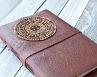 Large Mandala Leather Journal, Rustic Sketchbook