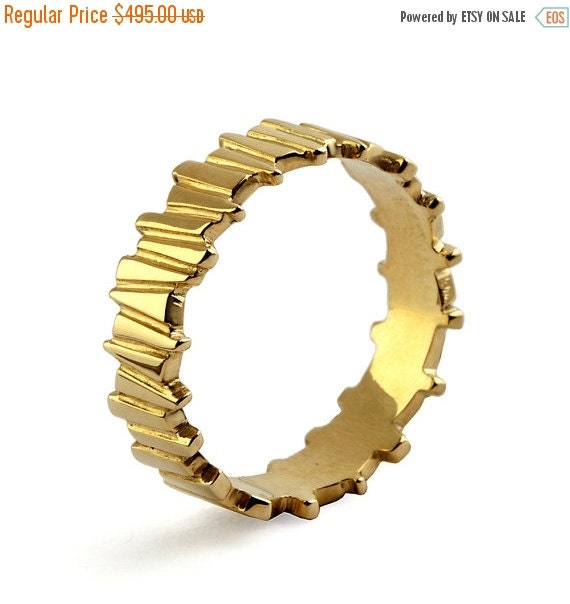 ON SALE - TEMPO 14k Yellow Gold Wedding Ring, Unique Wedding Band Ring, Alternative men's wedding band, His and Hers Wedding Band Set