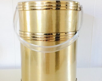 Mid Century Gold Georges Briard Ice Bucket With Lucite Handle