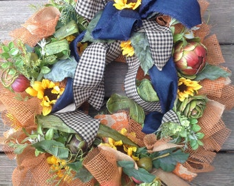 PLAID,  DENIM & SUNFLOWER fall wreath with leaves and branches, succulents and fruits, large size - Thanksgiving wreath