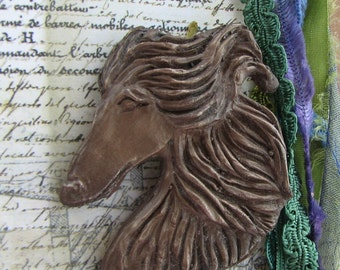Afghan Hound pin brooch by Dianne Kresevich