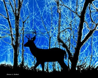 Deer Art, Southwestern Woodland Animal, Wildlife Nature, Home Decor, Woods Wall Hanging, Black Blue, Forest Artwork, Giclee Print, 11 x 14