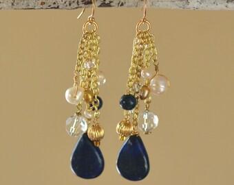Lapis Lazuli Teardrops Earrings. BLUE DUCHESS Lazurite Dangle Earrings. Gemstone 14K Gold Filled Earrings. Statement Jewelry.