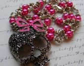Hot Pink Cutie-silver skull with bow and pearls necklace-20 3/4 inches or 52.5 cm