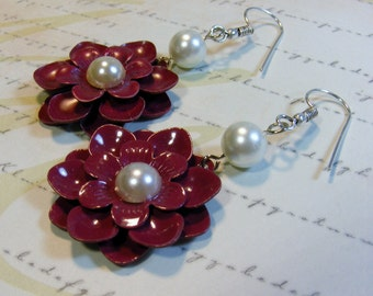 Red Flower earrings-2 1/2 inches or 6.5 cm