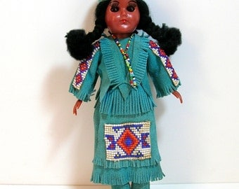 """Vintage Native American Doll 11"""", Turquoise Suede And Beadwork Outfit"""