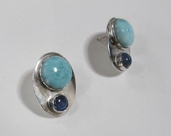Blue Stone Studs, Larimar and Kyanite on Sterling Silver Ovals