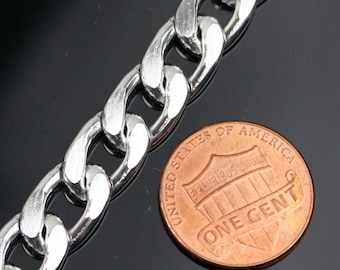 3 ft of Aluminum Chain Facet Curb Chain - Silver TARNISH Resistant FREE Anti Tarnished Silver Finished  - 13x9mm 2.7mm thickness - A055