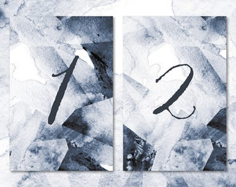 Geometric Watercolor Geode Calligraphy Wedding Table Numbers • Ready to Post Printable • Modern, Minimalist Style
