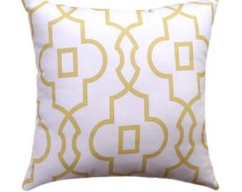 Yellow Geometric Decorative Pillow Cover - Saffron Yellow and White Pillow - Bordeaux Pillow Cover - Pale Yellow Pillow - Trellis Pillow