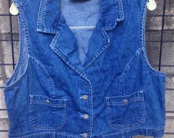 Jean Denim vest Vintage 1990s Cotton Blue