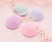 Polymer Clay Charms - Polymer Clay Pastel Mermaid Shell Cabochon - 4 pieces