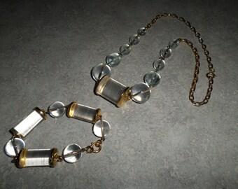vintage lucite acrylic round and barrel bead NECKLACE & BRACELET set gold tone chain link