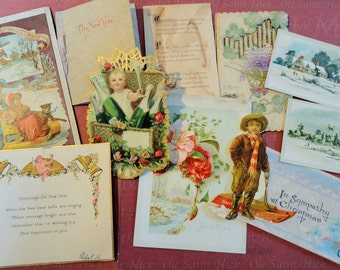 Christmas New Years Winter Scenes in Victorian Trade Card Lot No 13 Total of 11 Booklet Die Cut Lion Coffee