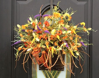 Fall Door Basket, Fall Door Hanger, Fall Door Hanging, Autumn Door Hanger, Autumn Wall Basket, Fall Wall Hanger, Harvest Decor, Fall Gift
