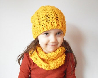 Girls Winter Skullcap and Circle Scarf set in Sunshine, ready to ship.
