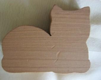 Cute Little Vintage Cedar Wood Cat Cutout for Drawer or Decor
